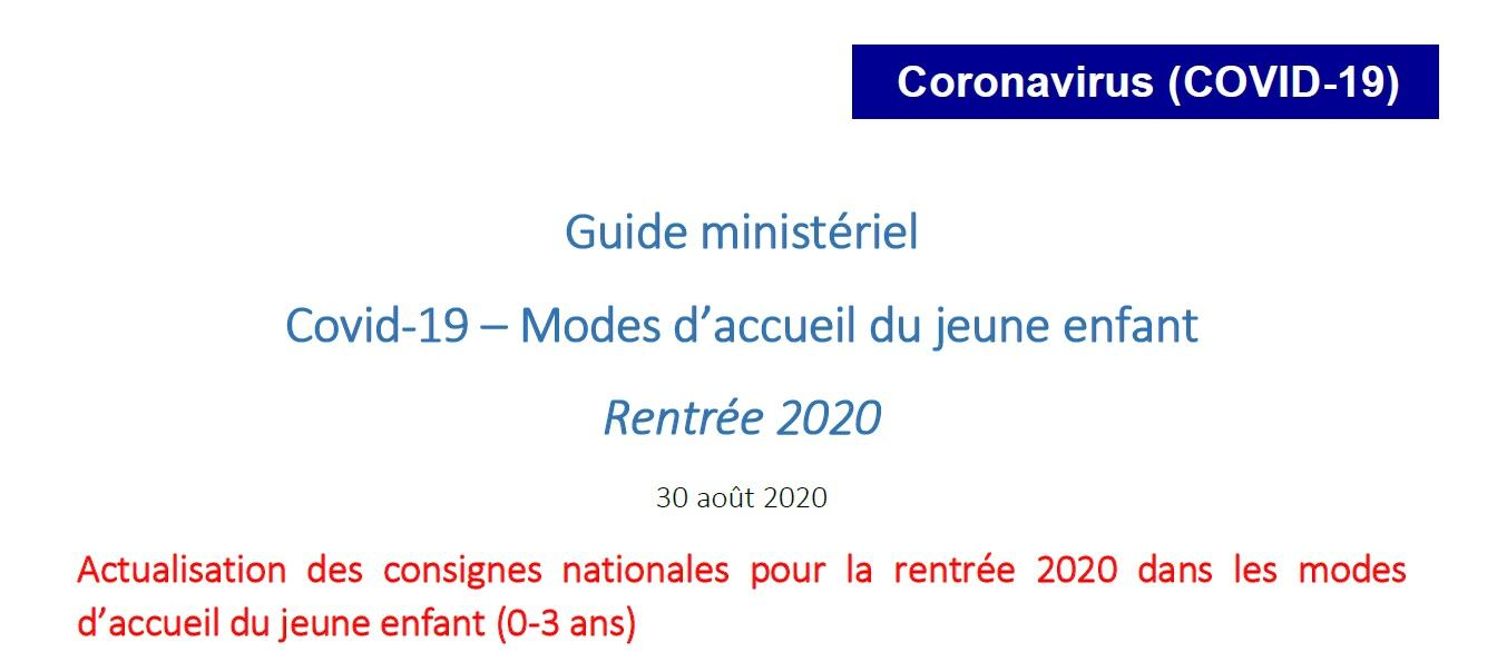 1ere page guide ministeriel covid jpg mode d accueil 0 3 ans rentree 2021